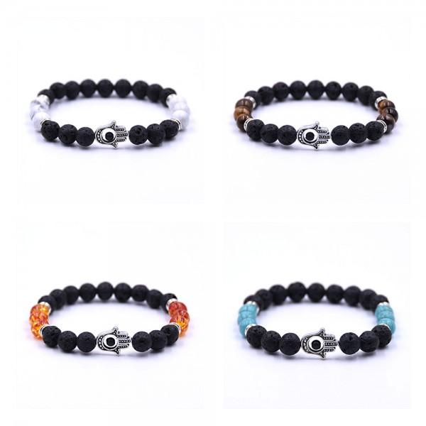 Coral Eye Energy Hamsa Hand Bracelet