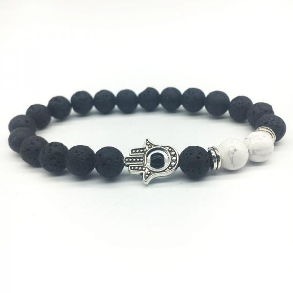 Natural White Marble & Lava Stone Hamsa Bracelet