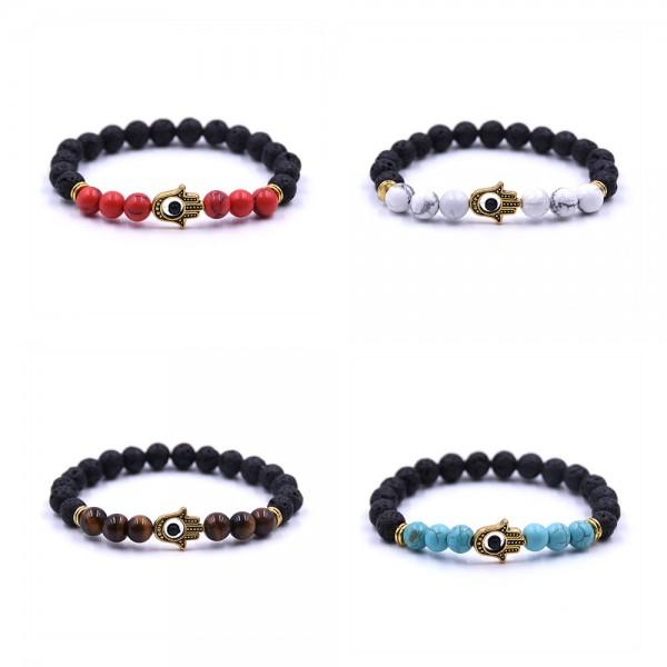 Red/White/Brown/Blue & Lava Black Hamsa Bracelet