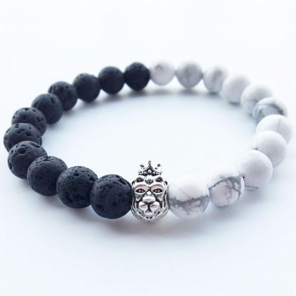 Black Lava & White Marble Lion Bracelet