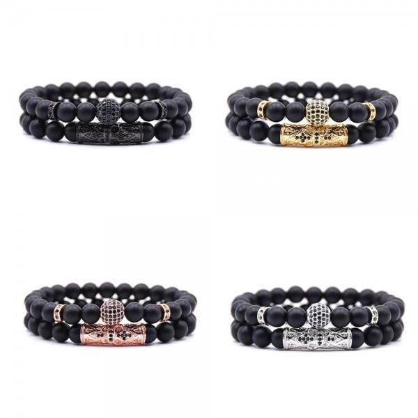Natural Black Matte Elastic Beads Bracelet