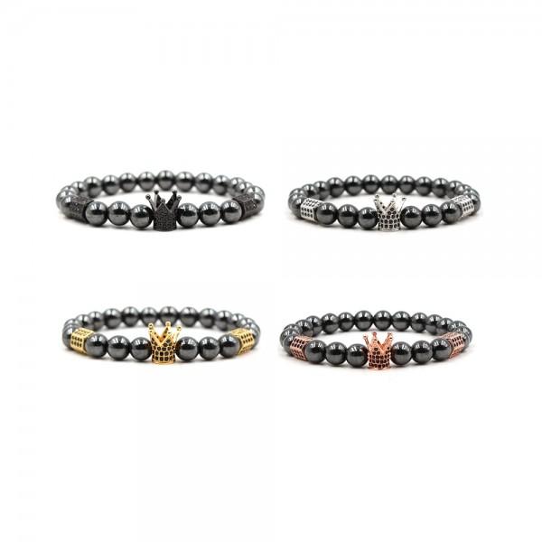 Hematite Crown-Shaped Elastic Bracelet