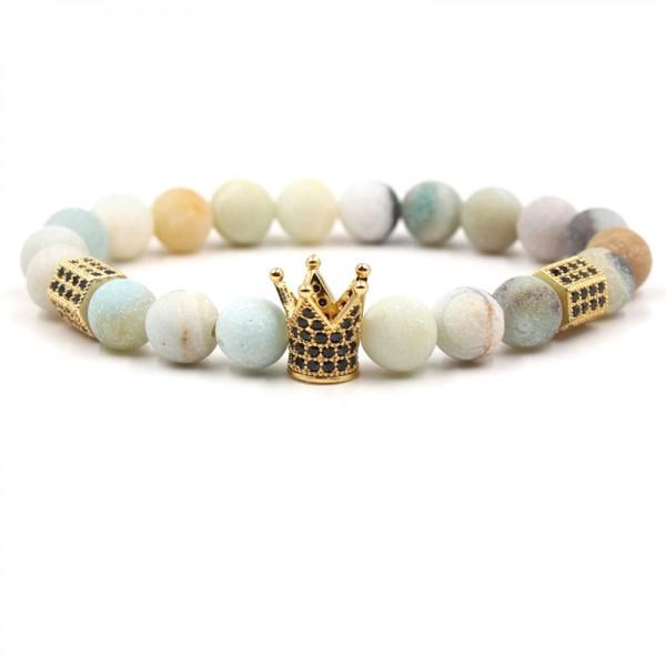 Amazing Frosted Stone Crown-Shaped Elastic Bracelet