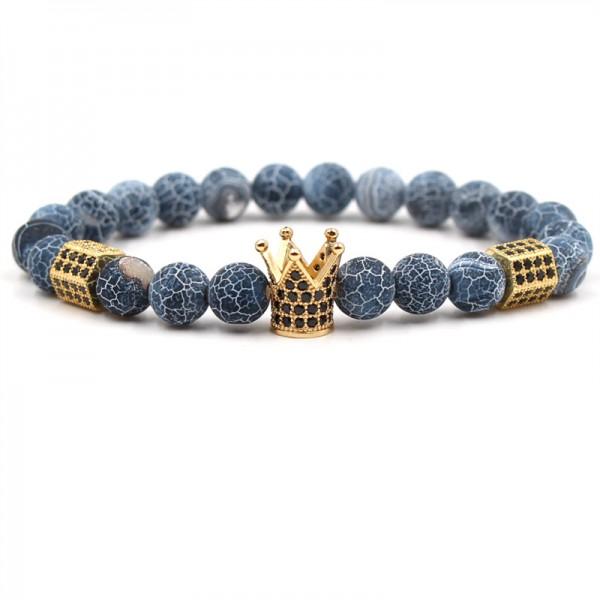 Weathered agate Crown-Shaped Elastic Bracelet