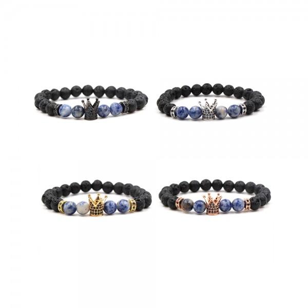 Zircon Inlaid Volcanic Rocks Crown-Shaped Elastic Bracelet