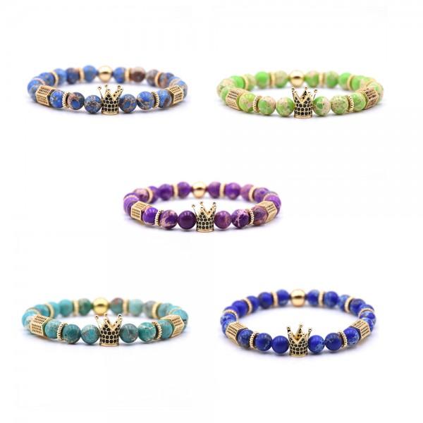 Natural Imperial Jasper Inlaid Zircon Crown-Shaped Elastic Bracelet