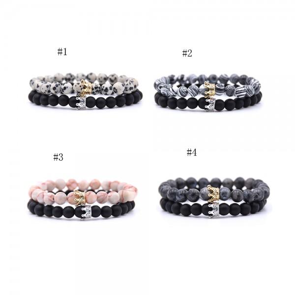 Spot Stone Malachite Crown-Shaped Elastic Two Bracelets