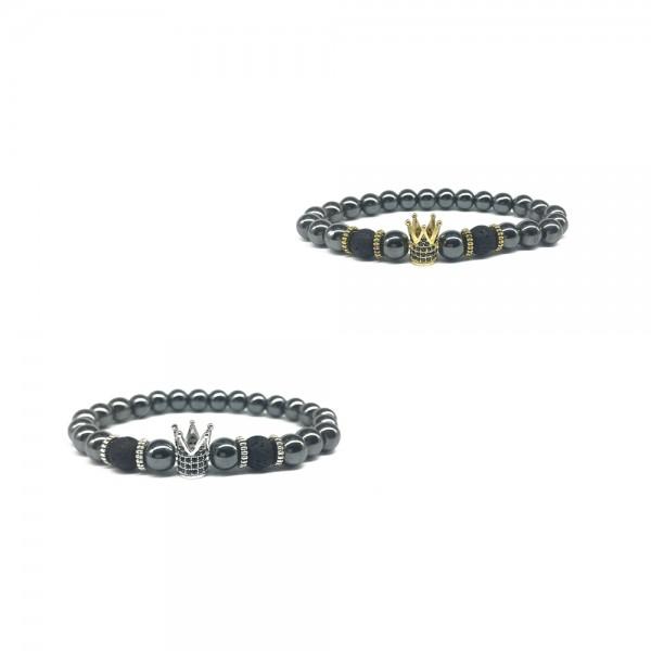 Black Iron Stone Crown-Shaped Elastic Bracelet