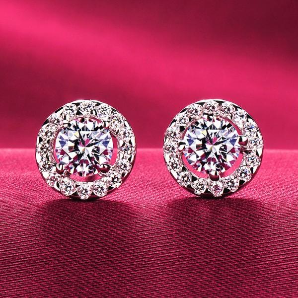 1.0 Carat Round Shape ESCVD Diamonds Fashionable Women Earrings