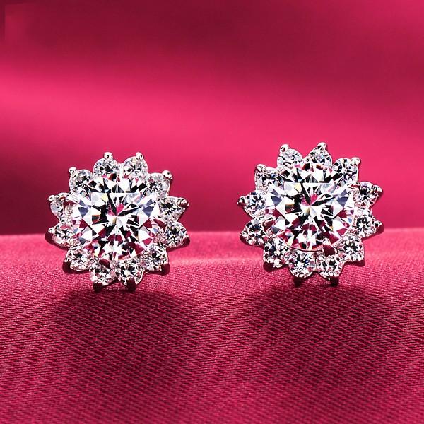 0.8 Carat Sunflower Shape ESCVD Diamonds Women Earrings