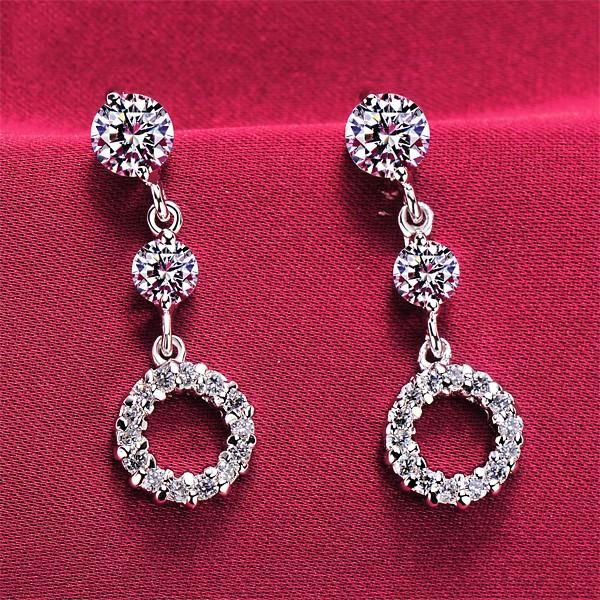 Hollow Circle 0.2 Carat ESCVD Diamonds Fashionable Women Earrings