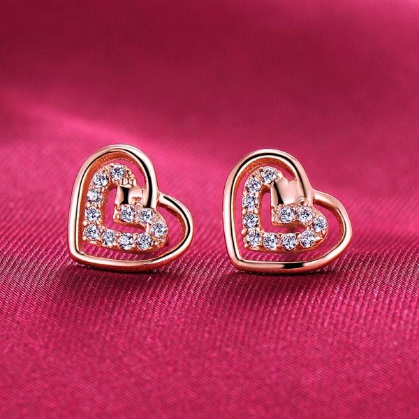 Heart Shape Rose Gold Color ESCVD Diamonds Fashionable Women Earrings