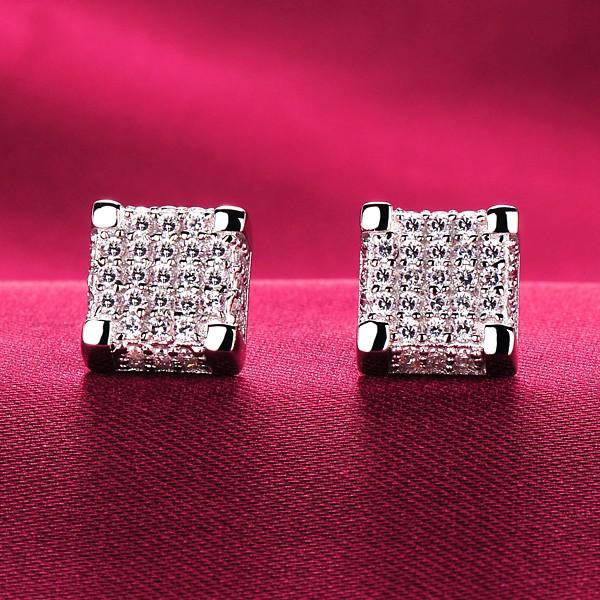 0.8 Carat Square ESCVD Diamonds Fashionable Women Earrings