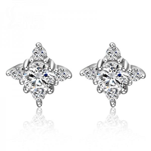 New S925 Sterling Silver Cubic Zirconia Flower Stud Earrings