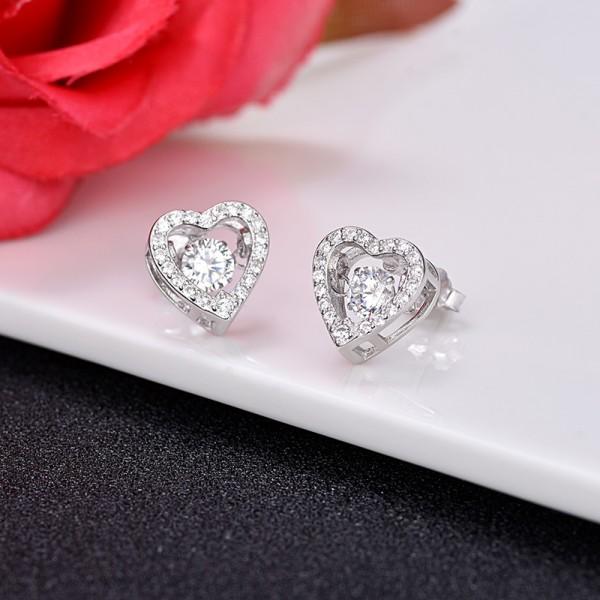S925 Sterling Silver Simple Heart Cubic Zirconia Girls Stud Earrings