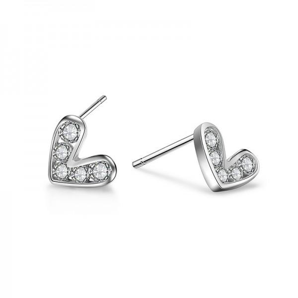 S925 Sterling Silver Love Fashion Heart-Shaped Earrings