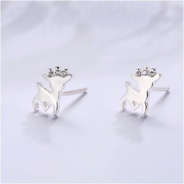 Cute Animal S925 Sterling Silver Female Cubic Zirconia Earrings