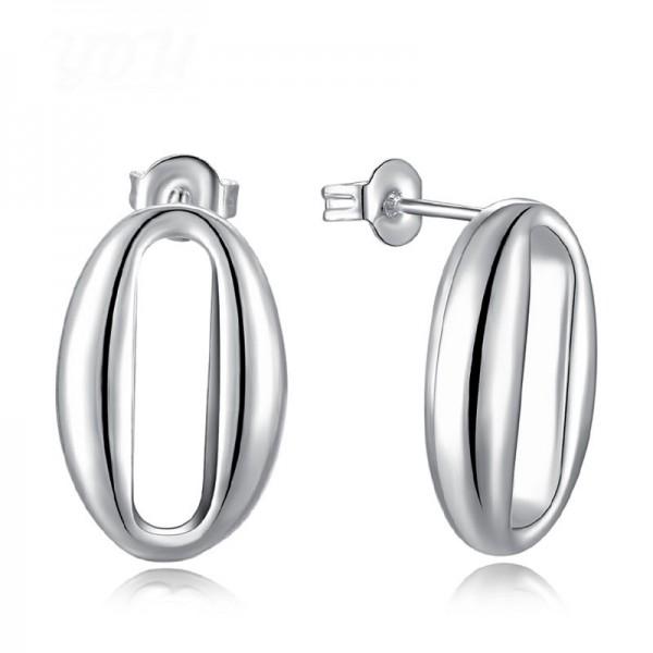 S925 Sterling Silver Egg Shape Hanging Anti-Allergy Earrings