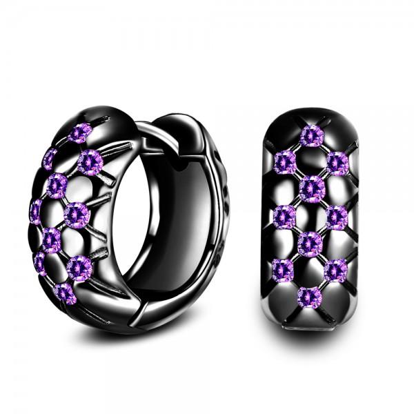 Beautiful S925 Sterling Silver Creative Purple Cubic Zirconia Earrings