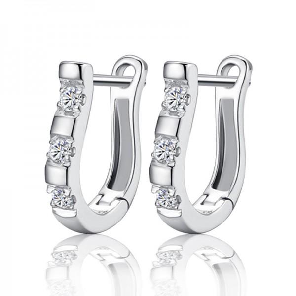 S925 Sterling Silver U Typed Harp Cubic Zirconia Earrings