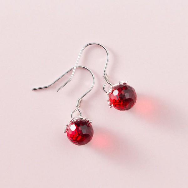 S925 Sterling Silver Sweet Retro Ruby Ball Earrings