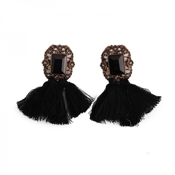 European Palace Long Tassel Exaggerated Retro Alloy Earrings