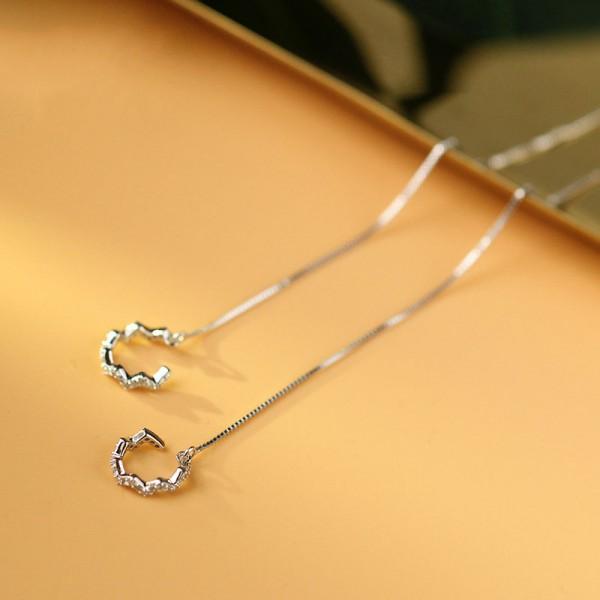 Simple S925 Sterling Silver Long Tassel Geometric Pendant Earrings