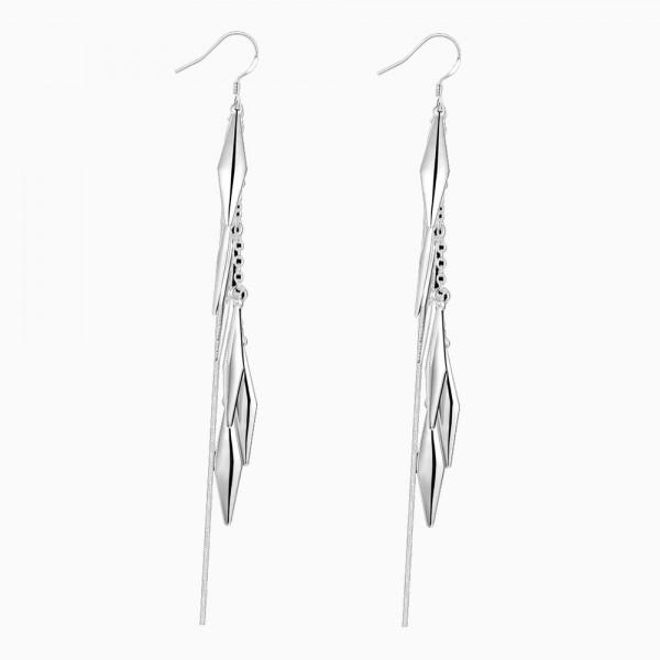 Personality Silver Plated Long Tassel Earrings