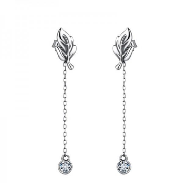 S925 Sterling Silver Leaves Cubic Zirconia Anti Allergy Earrings
