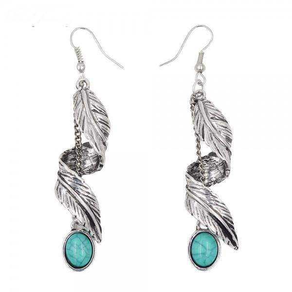 New Imitation Turquoise Long Leaves Earrings