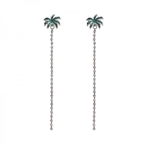 Beautiful Alloy Green Coco Long Pendant Earrings