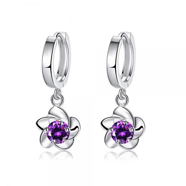 Elegant Silver Plated Cubic Zirconia Plum Flowers Earrings