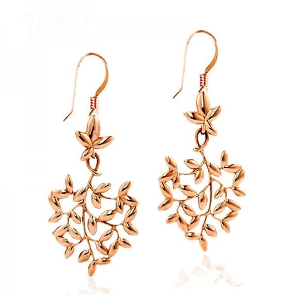 European Fashion Rose Gold Leaves Alloy Earrings