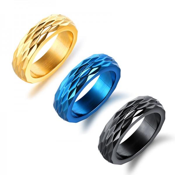 Titanium Black Blue and Gold Ring For Men Beehive Design Unique and Exquisite Brushed Inner Arc