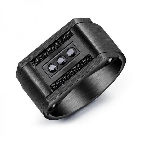Titanium Black Ring For Men Inlaid Cubic Zirconia Unique Design Cool and Liberality Brushed Craft