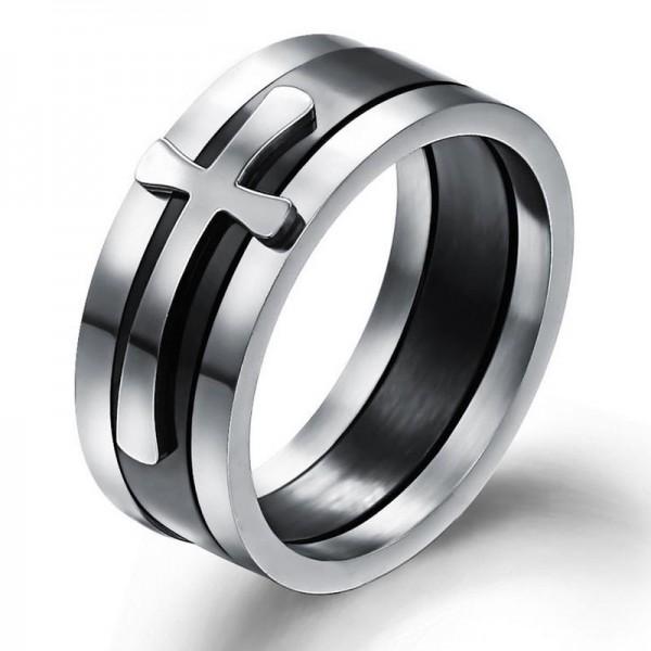 Titanium Ring For Men Plating Black Inlaid Cross Simple and Classic Polish Craft