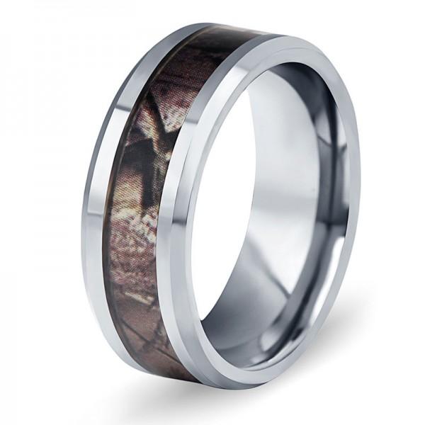 Tungsten Ring For Men Inlaid Fiber Elegant and Fashion Inner Arc Design