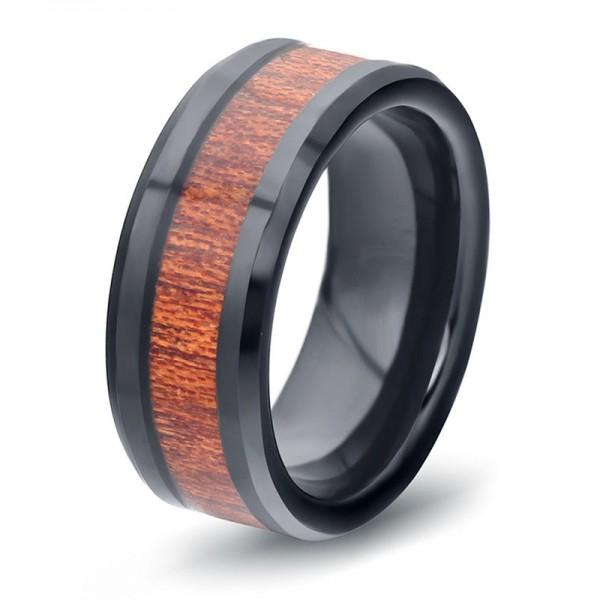 Tungsten Black Ring For Men Inlaid Wood Elegant and Classic Polish Inner Arc Design