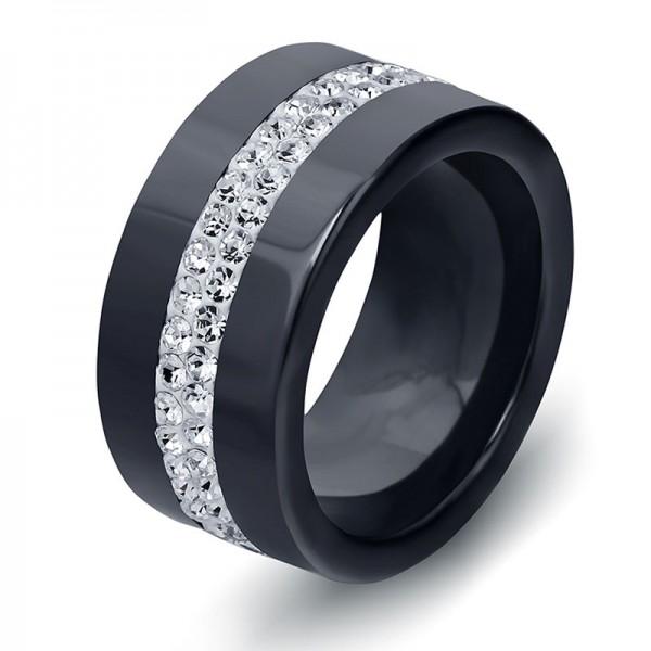 Ceramics Black and White Ring For Men Inlaid Cubic Zirconia Classic and Luxury