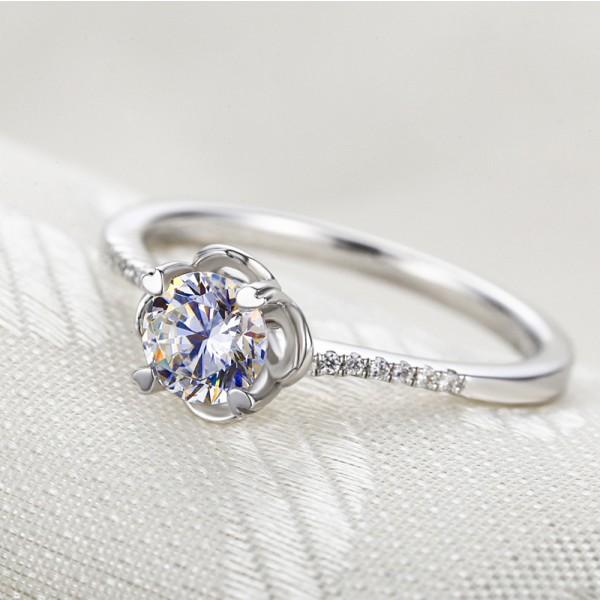 925 Sterling Silver Ring For Women Electroplating Platinum Flower Design Inlaid Diamond Decent