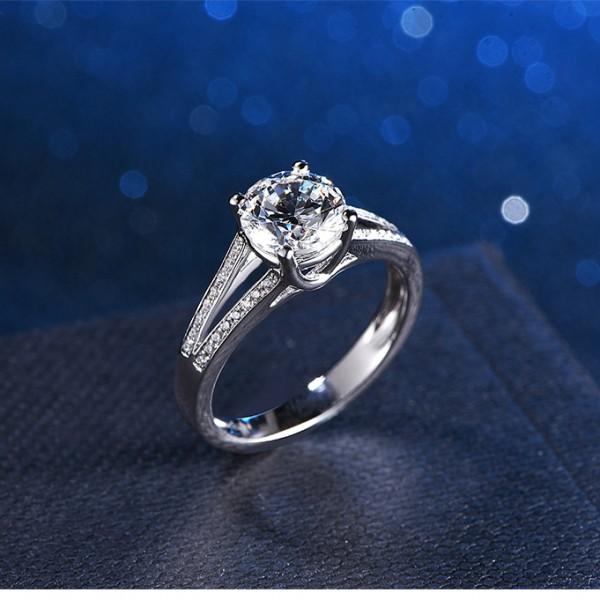 925 Sterling Silver Ring For Women Inlaid Cubic Zirconia Plating Platinum Micro-diamond Decoration 1.0 Carat Polish Craft Liberality and Elegant