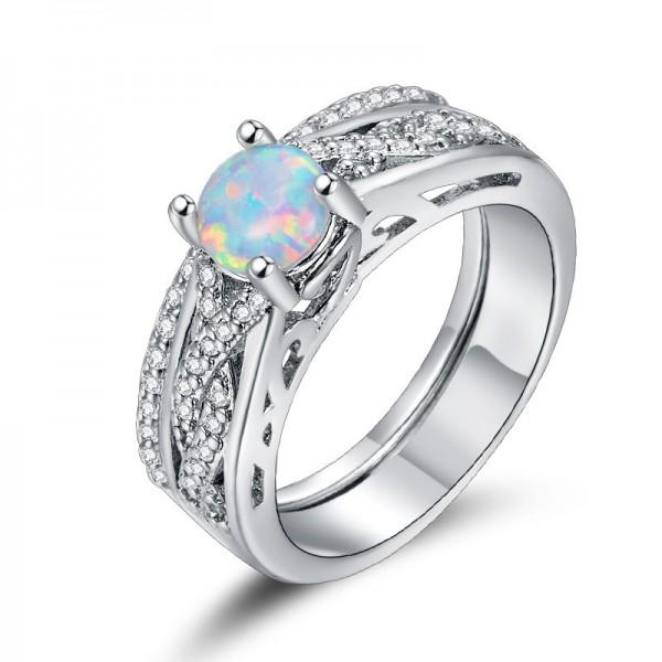 European Vintage Four-Claw Opal Engagement Ring Set