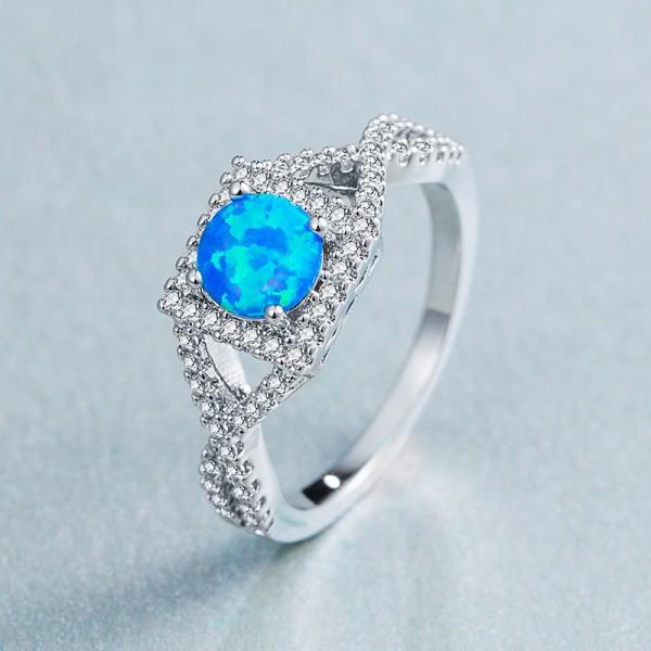 6mm White / Blue Opal Ring Ladies Ring