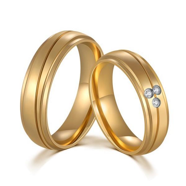 Titanium Luxury Golden Ring For Couples Inlaid Cubic Zirconia