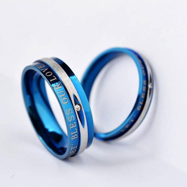 LET BLESS OUR LOVE Blue Titanium Steel Cubic Zirconia Couple Rings