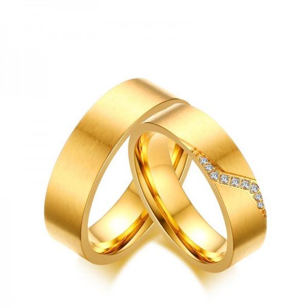 Titanium Golden Ring For Couples Inlaid Cubic Zirconia Luxury and Unique Brushed Craft