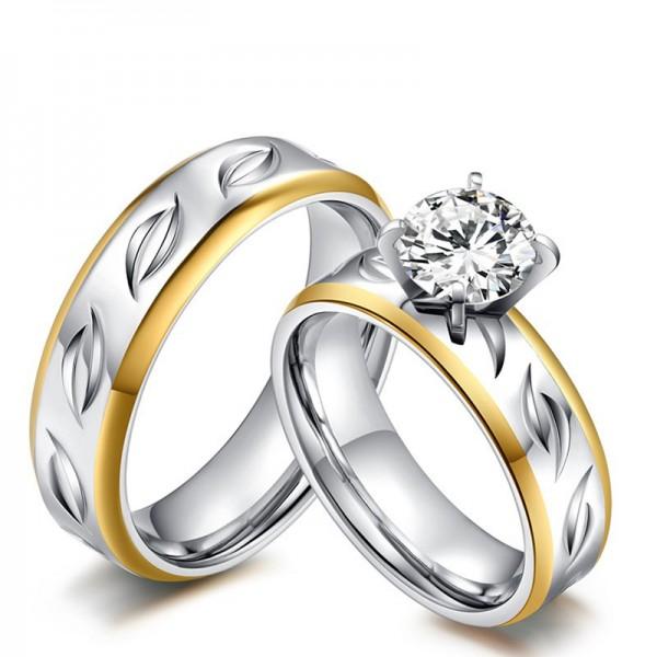 Stylish 3A Zircon Titanium Steel Couple Rings Valentine'S Day Present