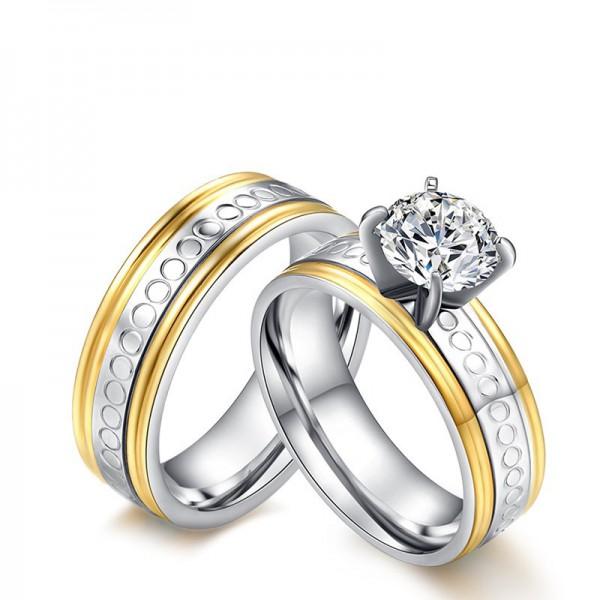 3A Zircon Stylish Titanium Steel Couple Rings Valentine'S Day Present