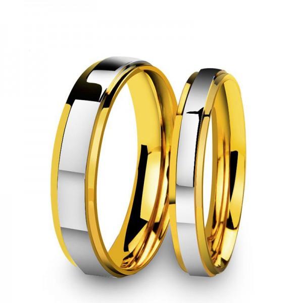 2019 Fashion New Premium Double Steps Mirror Golden Couple Ring