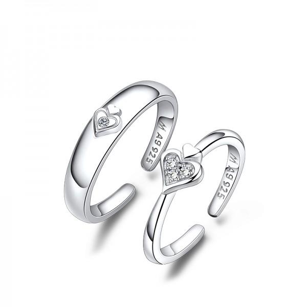 S925 Silver Cubic Zirconia White Sapphire Silver Couple Rings Heart Design